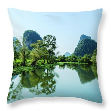 Throw Pillow featuring the photograph Karst Rural Scenery by Carl Ning
