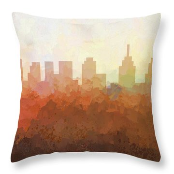 Throw Pillow featuring the digital art Philadelphia Pennsylvania Skyline by Marlene Watson