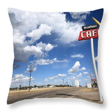 Route 66 Cafe Throw Pillow by Frank Romeo