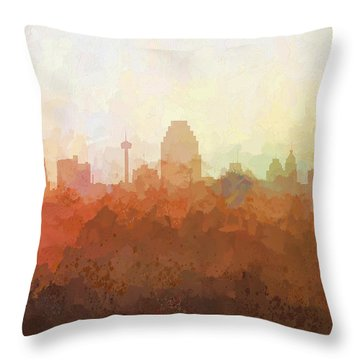 Throw Pillow featuring the digital art San Antonio Texas Skyline by Marlene Watson