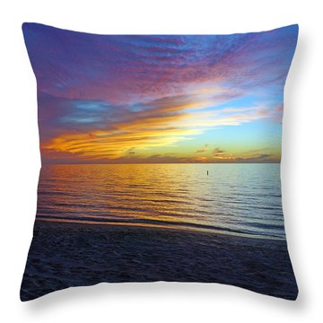 Sunset At Delnor Wiggins Pass State Park In Naples, Fl Throw Pillow