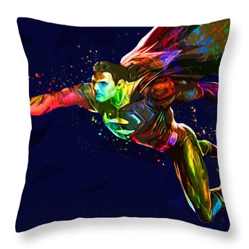 Superman Throw Pillow by Elena Kosvincheva