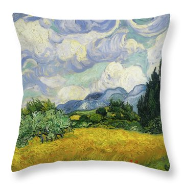 Throw Pillow featuring the painting Wheat Field With Cypresses by Vincent van Gogh