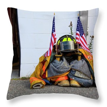 Throw Pillow featuring the photograph 911 Tribute IIi by Greg DeBeck