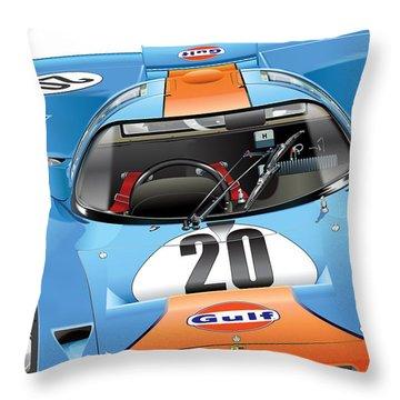 Porsche 917 Illustration Throw Pillow by Alain Jamar