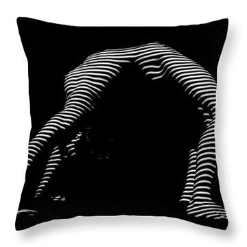 9454-dja Back Bend Yoga Zebra Girl Striped Curves Black White Photograph By Chris Maher Throw Pillow