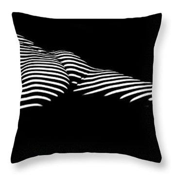 9474 Zebra Stripe Yoga Pigeon Pose Feline Grace Throw Pillow