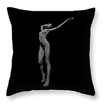 9705-dja Zebra Woman Flow Of Life Black White Striped Young Woman By Chris Maher Throw Pillow