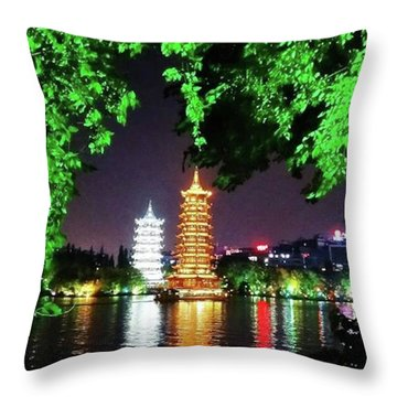 Sun And Moon Pagoda Green Leaves Throw Pillow