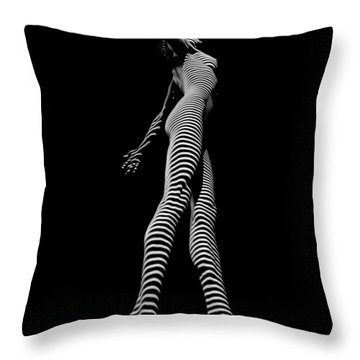 9825-dja Black And White Zebra Striped Woman Unique Perspective Fine Art Photograph By Chris Maher Throw Pillow