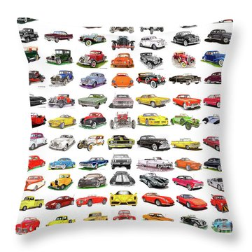 99 Cars Throw Pillow