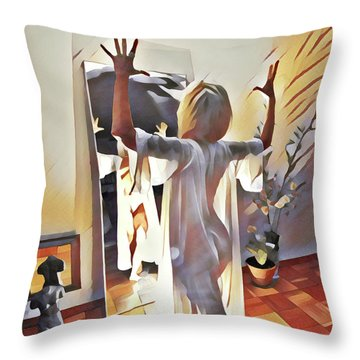 9906s-dm Woman Confronts Herself In Mirror Throw Pillow