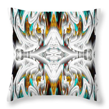 Throw Pillow featuring the digital art 992.042212mirror2ornategoldablue-1 by Kris Haas