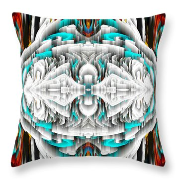 Throw Pillow featuring the digital art 992.042212mirror2ornateredablue-1 by Kris Haas