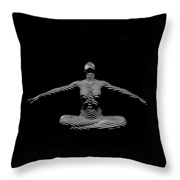 9928-dja Zebra Striped Woman Lotus Arms Out Abstract Black And White By Chris Maher Throw Pillow