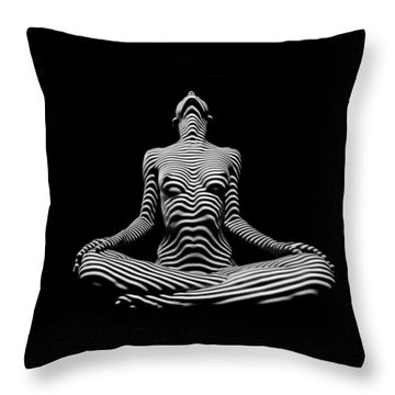 9934-dja Lotus Position In Zebra Stripes  Throw Pillow