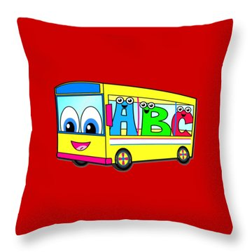 A B C Bus T-shirt Throw Pillow by Herb Strobino
