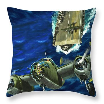 A B52 Bomber Takes Off From An Aircraft Carrier Headed For Japan In World War II Throw Pillow by Wilf Hardy