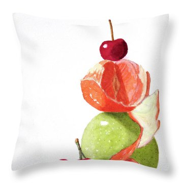 Throw Pillow featuring the painting A Balanced Meal by Rich Stedman