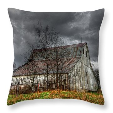 A Barn In The Storm 3 Throw Pillow by Karen McKenzie McAdoo