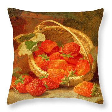 A Basket Of Strawberries On A Stone Ledge Throw Pillow