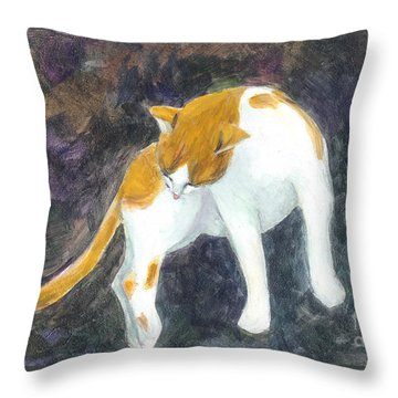 A Bathing Cat Throw Pillow