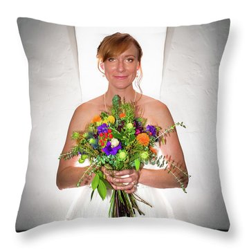 A Beautiful Backlit Bride And Her Bouquet Throw Pillow