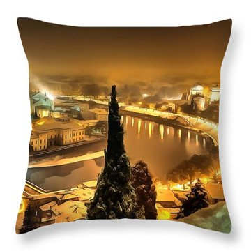 A Beautiful Blonde In Thick Paint Throw Pillow