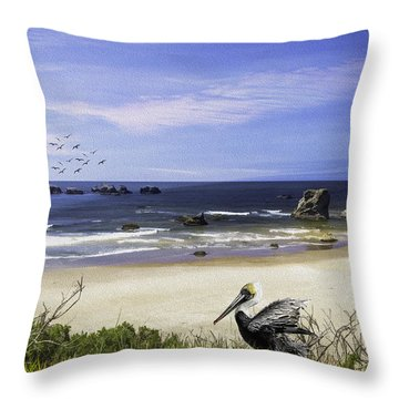 Throw Pillow featuring the photograph A Beautiful Day At Face Rock At Coastal Oregon by Diane Schuster