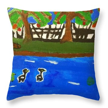 Throw Pillow featuring the painting A Beautiful Day Outside by Artists With Autism Inc