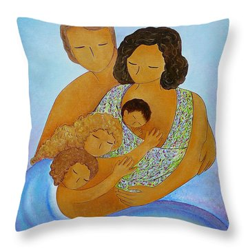 A Beautiful Family Throw Pillow by Gioia Albano