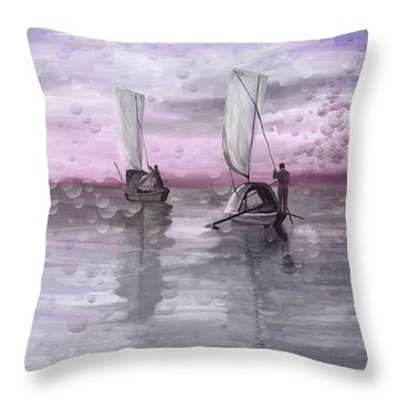 A Beautiful Morning For Fishing Throw Pillow by Angela A Stanton