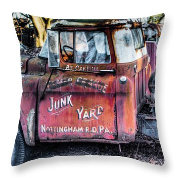 Throw Pillow featuring the photograph A Beautiful Rusty Old Tow Truck by Dennis Dame