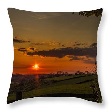 A Beautiful Sunset Over The Surrey Hills Throw Pillow