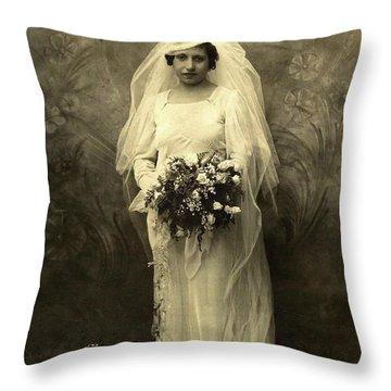 A Beautiful Vintage Photo Of Coloured Colored Lady In Her Wedding Dress Throw Pillow