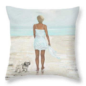 Throw Pillow featuring the painting A Beautiful Walk by Leslie Allen
