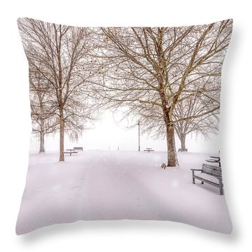 Throw Pillow featuring the photograph A Beautiful Winter's Morning  by John Poon