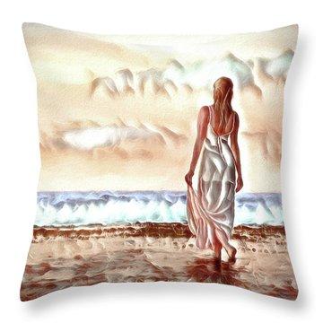 Throw Pillow featuring the digital art A Beautiful World by Pennie McCracken