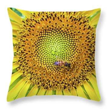 A Bee On A Sunflower Throw Pillow