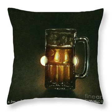 A Beer In The Headlights... Throw Pillow