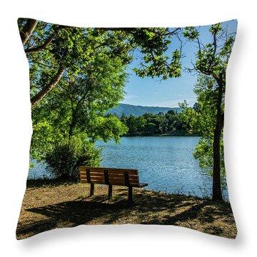 A Bench Overlooking Vasona Lake Throw Pillow