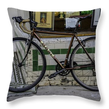 A Bicycle In The French Quarter, New Orleans, Louisiana Throw Pillow