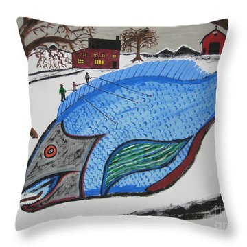 Throw Pillow featuring the painting A Big Fish Tale by Jeffrey Koss
