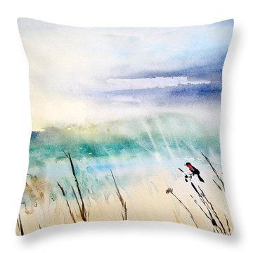 A Bird In Swamp Throw Pillow by Yoshiko Mishina