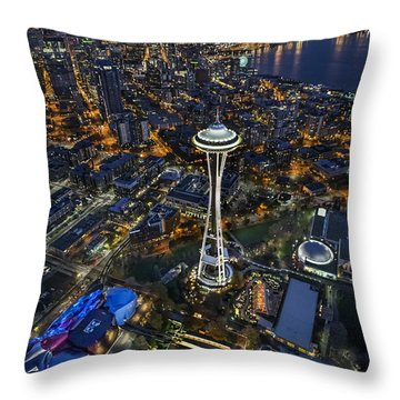 Throw Pillow featuring the photograph A Birds-eye View Of Seattle by Roman Kurywczak