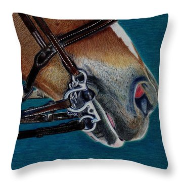 A Bit Of Control - Horse Bridle Painting Throw Pillow by Patricia Barmatz