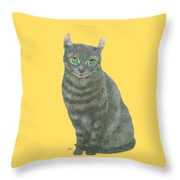 A Black Cat Throw Pillow by Jingfen Hwu