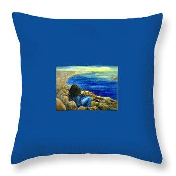 A Blue Day Throw Pillow by Gail Kirtz