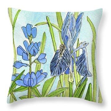 A Blue Garden Throw Pillow
