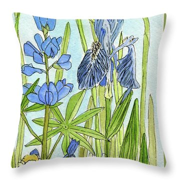 Throw Pillow featuring the painting A Blue Garden by Laurie Rohner